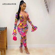 ANJAMANOR Rose Multi Camo Imprimé Combinaison Sexy Vêtements pour Femmes Club Tenues Lacé Évider Bodycon Barboteuses D10-CI28