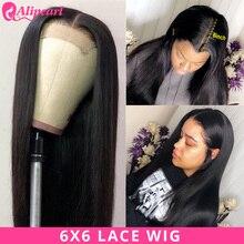 AliPearl волос 6x6 Кружева Закрытие парик человеческих волос парики предварительно бразильские прямые волосы парик шнурка 130 150 180 плотность волосы Remy натуральный Цвет