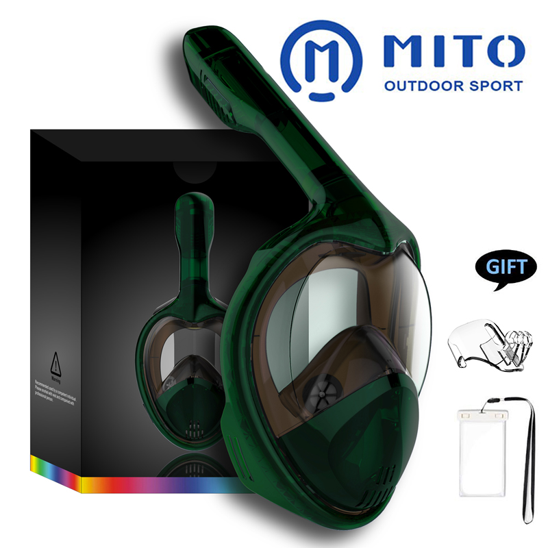 2019 masques de plongée en apnée visage complet vue panoramique Anti-buée Anti-fuite natation tuba plongée sous-marine masque de plongée Compatible GoPro