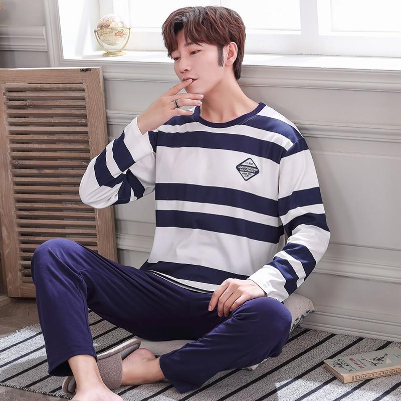 Blue Striped Pajamas For Men Full Cotton Sleepwear Suit 2 Pcs Pyjama Homme Casual Tracksuit Home Clothing Pijama Hombre