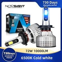 Светодиодные Автомобильные лампы NOVSIGHT H7 6500K 72 Вт 9005 лм пара H4 H11 H1 H13 9006 9007 H3 светильник для замены автомобильных ламп без вентилятора без шума