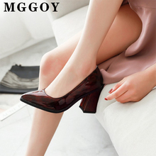 Square Heel Patent Leather Pumps Women Shoes Pointed Toe Spring High Heels Rubber Sole Office Large Size Ladies PU