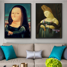 Fernando Botero Mona Lisa Canvas Paintings On the Wall Art Posters And Prints Funny Of Pictures Home Decor Cuadros