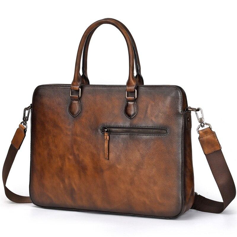 Nesitu High Quality Black Coffee A4 Genuine Leather 14'' Laptop Office Men Briefcase Portfolio Business Messenger Bag M9102