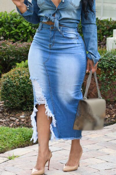 Denim Skirts Women High Waist Ripped Blue Denim Skirt Sexy Club Bodycon Long Jeans Skirts in Skirts from Women 39 s Clothing