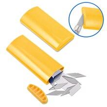 Ehdis 2 pçs profissional snap fora da lâmina de eliminação caso para 30 graus aço baldes de lixo filme de papel vinil faca cortador ferramenta armazenamento