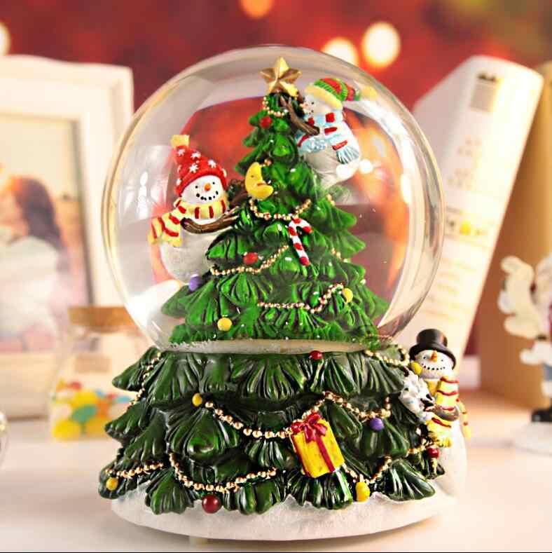 هدايا عيد الميلاد لعام 713 ، هدايا إبداعية للبنات ، هدايا عيد ميلاد للأطفال ، كرة كريستالية دوارة ، صندوق تشغيل الموسيقى ، أدوات الزينة