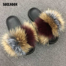 Real Fur Slippers Women Fox Fur Slides Woman's Summer Furry Sandals Home Slippers Female Fuzzy Flip Flops Casual Plush Shoes couple slippers fur slides for men women indoor slippers female winter plush insole rubber sole comfort cotton shoes flip flops