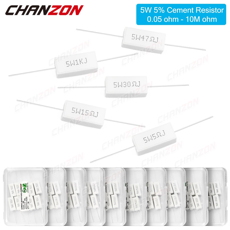 10Pcs 5W 5% Cement Wirewound Resistors 0.22 0.33 0.47 50 100 330 1K 10K Ohms 5Watt Inductive Fixed Wire Wound Ceramic Resistance