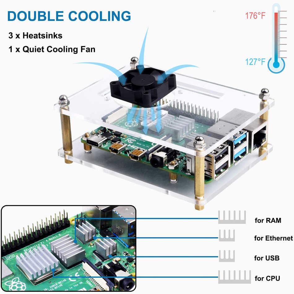 Pokrowiec na Raspberry Pi 4 B, obudowa z radiatorami chłodzącymi do Raspberry Pi 4 Model B pi 3 B +/ 3B/ 2B