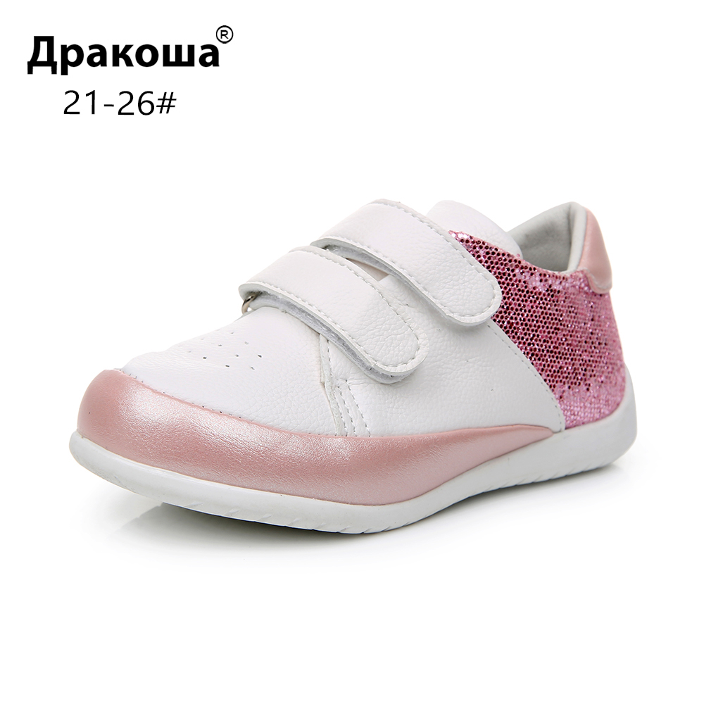 Apakowa Baby Girls Fashion Glitter Lightweight Hook & Loop Sneakers Toddler Kids Outdoor Low-Top Breathable Sports Running Shoes
