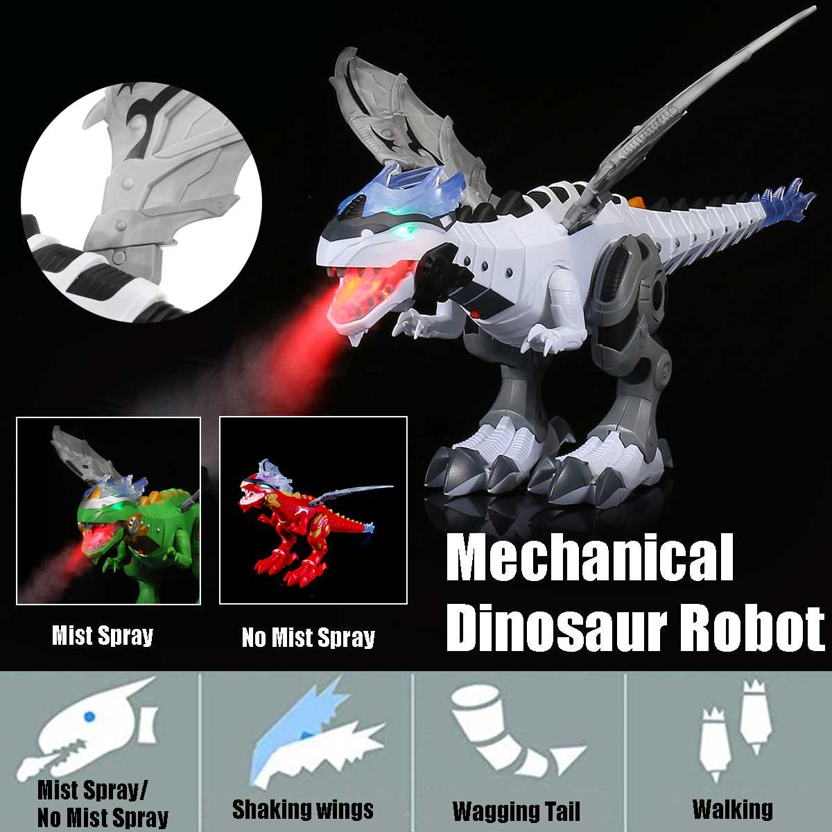 Walking Dragon Toy Fire Breathing Water Mist Spray Dinosaur Lights Sound Wings Swing Kids Electric Toys Christmas Birthday Gift