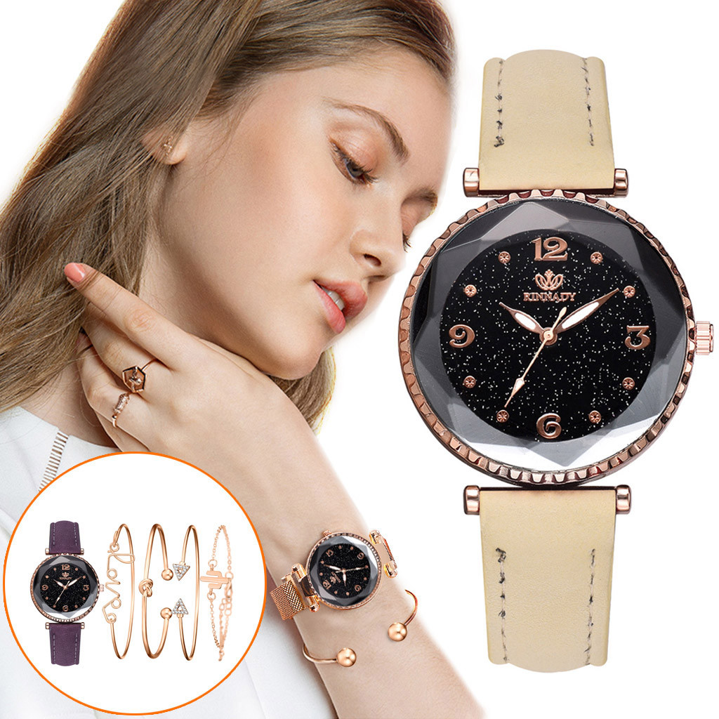 DUOBLA Women Watches Luxury Brand Ladies Watch Quartz Watch Bracelet Watch Leather Fashion Geneva Crystal Watch Bracelet Set