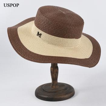 USPOP damskie czapki list M kapelusze przeciwsłoneczne patchwork kapelusze słomkowe damskie płaska szeroka rondo kapelusze plażowe letnie słomkowe kapelusze tanie i dobre opinie Dla dorosłych Papier Słomy WOMEN Sun kapelusze LLZ- SU20320 Na co dzień
