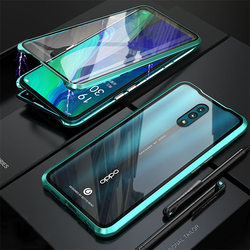 На Алиэкспресс купить стекло для смартфона magnetic case for oppo reno / reno z / reno 10x zoom case front+back cover double-sided 9h tempered glass metal bumper cases