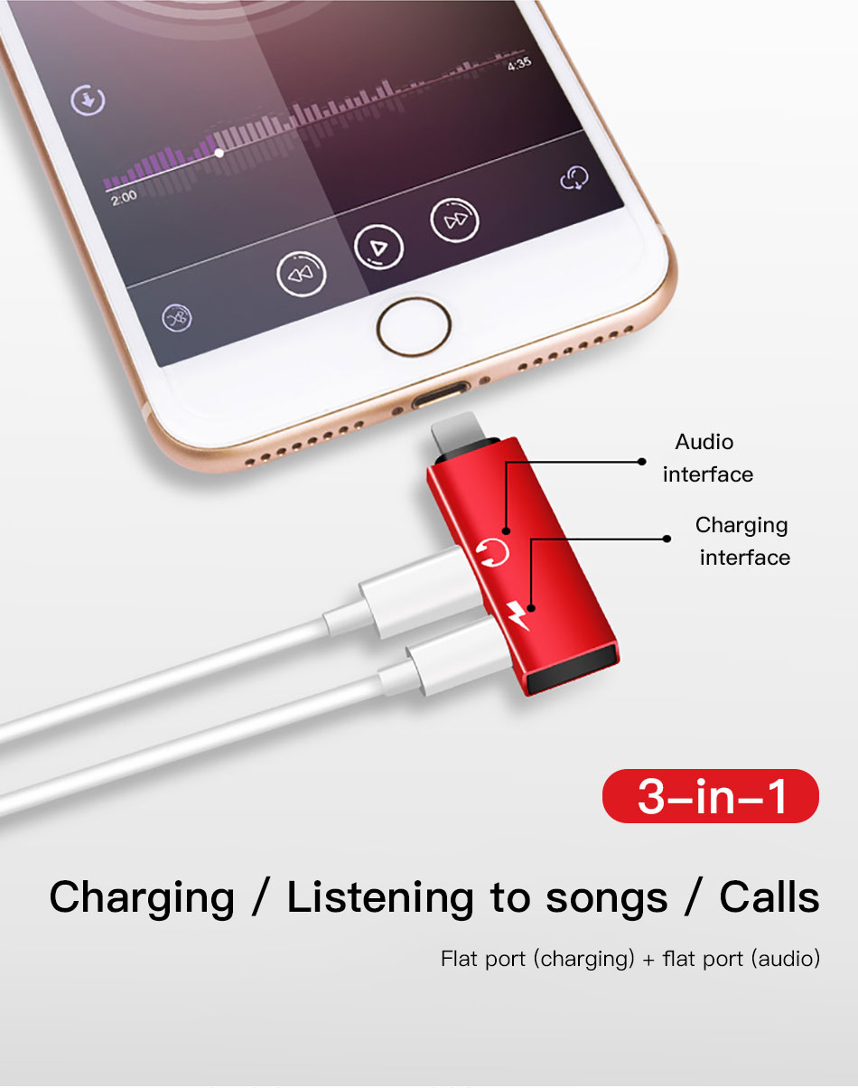 !ACCEZZ 2 in 1 Charging Call Adapter For iphone X 8 7 Plus XS MAX XR IOS 11 12 Dual Lighting Jack to Earphone Support Microphone (3)