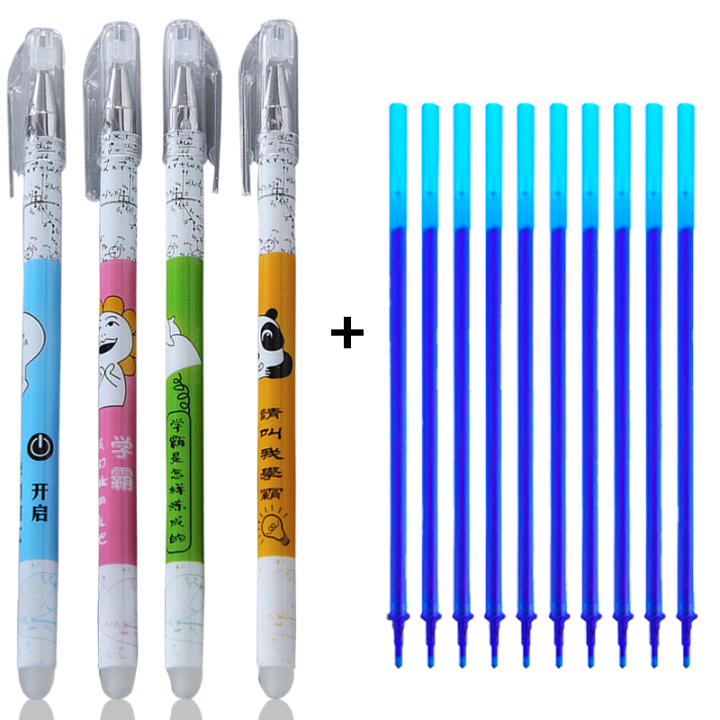Kawaii Cartoon Erasable Pen Cute Washable Handle Blue/Black 0.5mm Magic Ink Neutral Gel Pen School Office Writing Stationery
