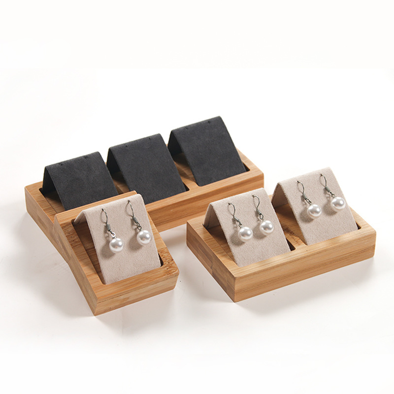 High Quality Bamboo Velvet Jewelry Display Earring Display Stand Ear Stud Earrings Holder Rack Storage Case