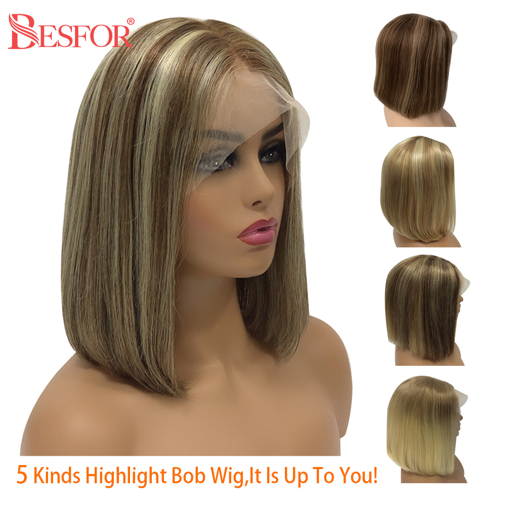 Highlights Short Bob 13*6 Lace Front Human Hair Wigs Balayage Cheap Cosplay Ombre Free Part Silky Straight Wigs For Black Women