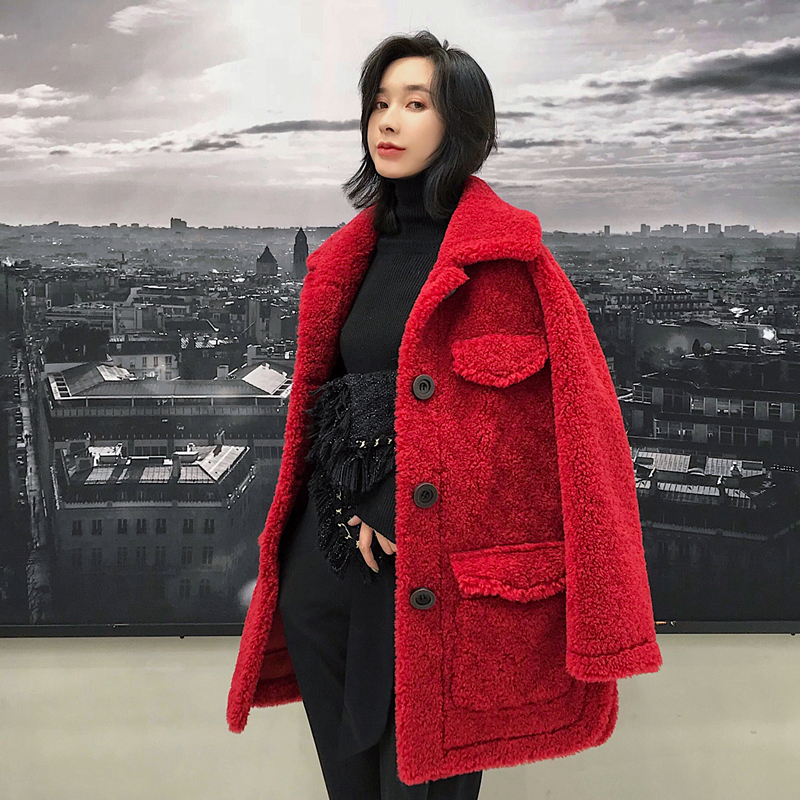 Real Fur Coat Female Fashion Winter Coat Women Clothes 2019 Korean Warm Wool Long Jacket Cashmere Thick Outerwear D015