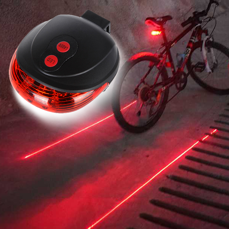 Wasafire Safety Warning Night Riding MTB Road Rear Taillight Lamp 5 LED+2 Laser Bicycle LED Light reflector Cycling Bike Light