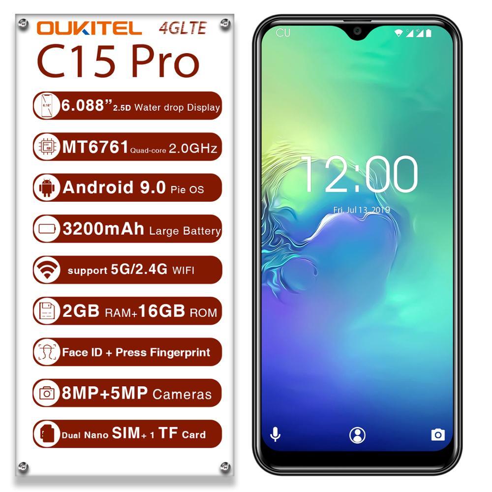 OUKITEL C15 Pro 4 аппарат не привязан к оператору сотовой связи смартфон 2G 16 Гб 3200 мАч 6,088 HD мобильный телефон отпечатков пальцев 8.0MP Камера полный Э...