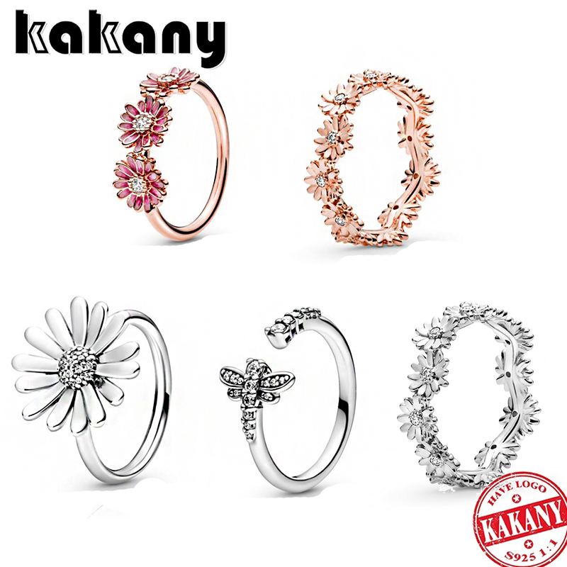KAKANY 2020 New Fashion Delicate Hatsune 925 Rose Gold Stackable Glittering Daisy Flower Crown Ring Original Woman Jewelry Gift