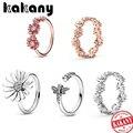 Kakany 2020 nova moda delicada hatsune 925 rosa de ouro empilhável brilhante daisy flor coroa anel mulher original jóias presente