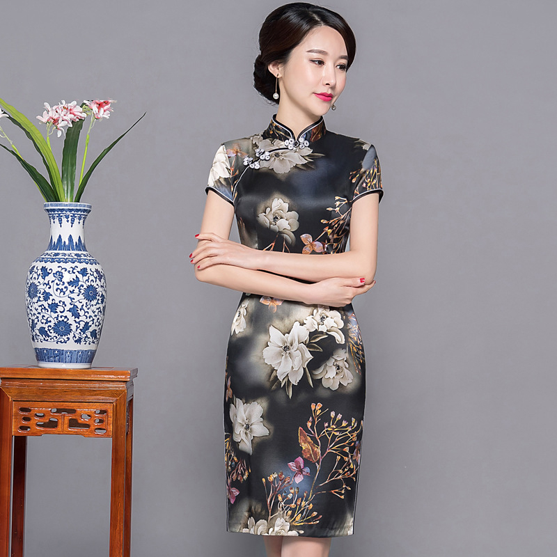 Print Flower Female Short Sleeve Cheongsam Chinese Traditional Mandarin Collar Evening Party Dress Tight Qipao Plus Size 3XL