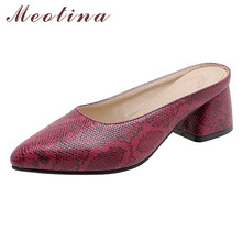 Meotina Women Shoes High Heels Snake Print Mules Pumps Pointed Toe Thick Heel Footwear Lady Summer Fashion Brown Size 3-12