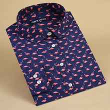 QIHUANG Casual Flamingo Print Blouses Women Shirts Vintage Ladies