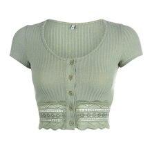 Sweter z krótkim rękawem damski prążkowany z krótkim rękawem Casual elegancka koronka Hem zielony gorący lato nowy seksowny modny Top JS0203