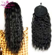Натуральные волнистые человеческие волосы на шнурке для конского хвоста, бразильские афро-волосы для наращивания с зажимом, волосы без пов...