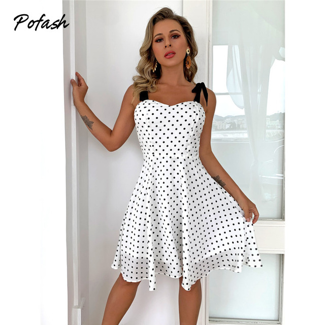 Pofash White Dot Summer Dress Women Bow Black Spaghetti Strap Sexy Backless Mini Dresses Female Ruffle Streetwear Vestidos 2021 1