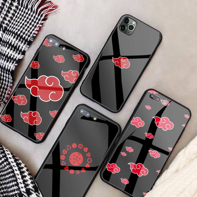 Akatsuki Naruto Glass Phone Case Fundas Coque For IPhone 11 Pro Max Cases XR XS 12 7 8 Plus Cover Accessories Carcasa|Phone Case & Covers| - AliExpress