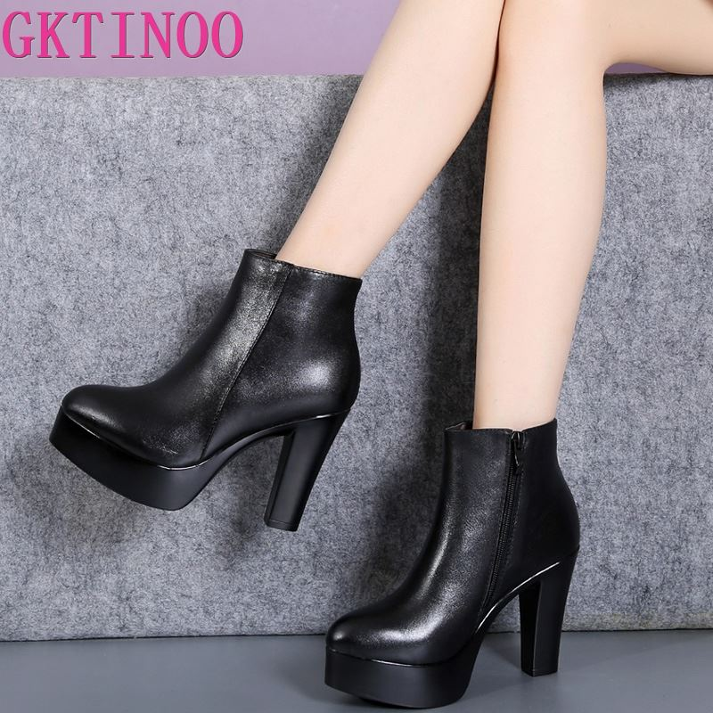GKTINOO 2019 Genuine Leather Autumn Winter Boots Shoes Women Ankle Boots Female High Heels Boots Women Boot Platform Shoes