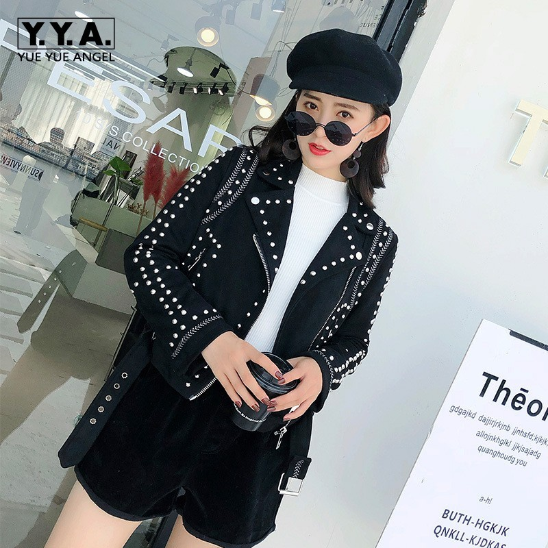 Fashion Korean Womens Faux   Leather   Rivet   Suede   Jackets Long Sleeve Lapel Moto BikerAutumn Winter Slim Fit Short Coats Streetwear