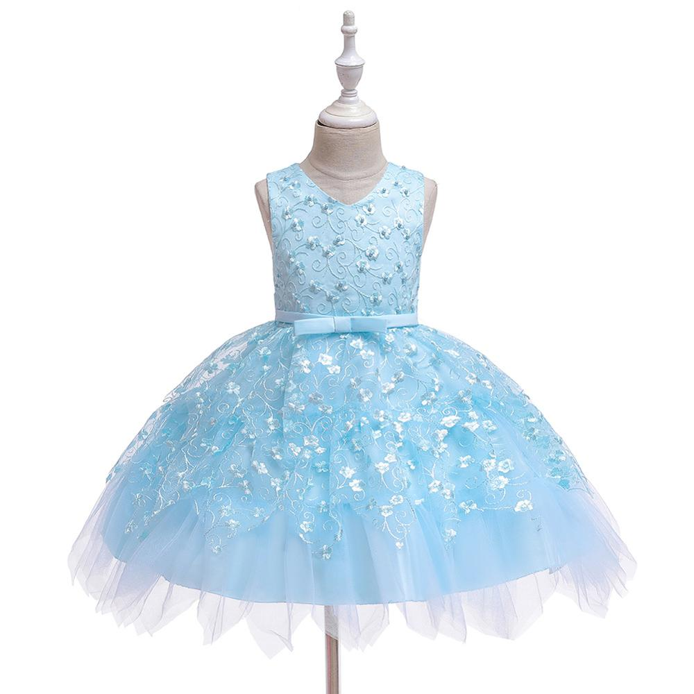 New Popular 2019 Flowers V-neck Christmas Ball Gowns Elegant Big Bow First Communion Dresses For Girls