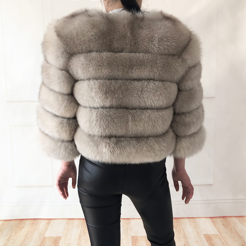 2019 new style real fur coat 100% natural fur jacket female winter warm leather fox fur coat high quality fur vest Free shipping 153