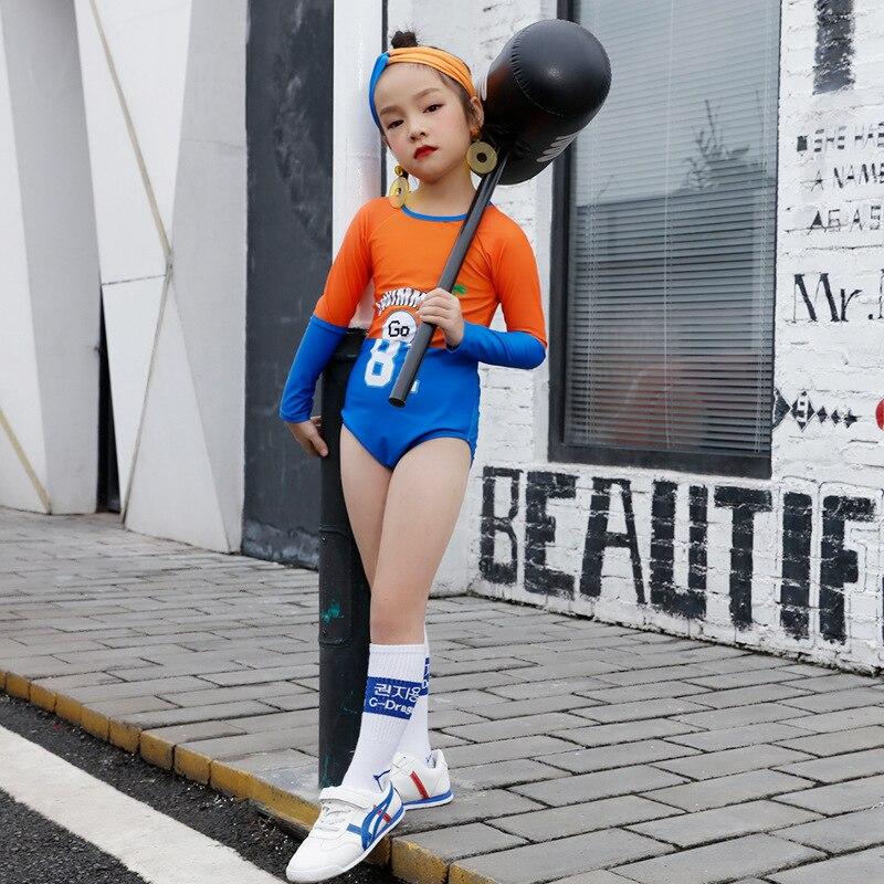 Sports-Style KID'S Swimwear Girls Siamese Swimsuit Contrast Color Popular Brand Long Sleeve Sun-resistant Triangular Hot Springs