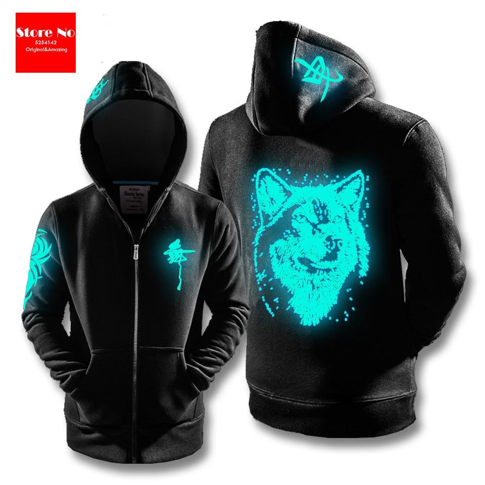 US $10.98 |Golwing Wolf bluzy z nadrukiem męskie 3d bluzy bluzy chłopięce kurtki fajny sweter damskie dresy Animal Streetwear Out Coat w Bluzy z