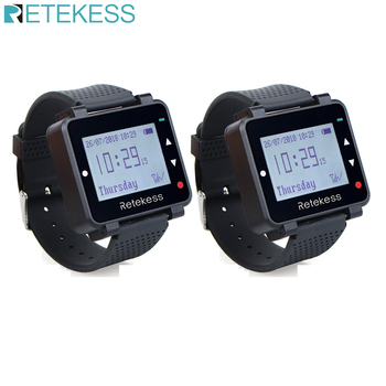 Retekess T128 Wireless Calling System Call Waiter Cafe Office Pager Restaurant Equipment office 2pcs Watch Receivers