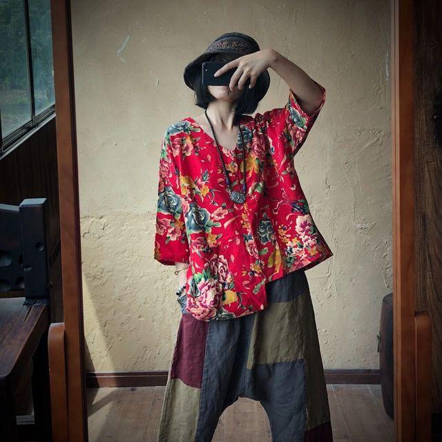Women Loose Printed V Neck Irregular Length Blouse Tops Ladies Vintage Print Cotton Linen Tops Shirt Female 2020 Blouses 1