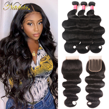 Nadula Hair 7A Peruvian Hair Bundles With Closure 4*4 Swiss Lace Closure With Body Wave Human Hair Weave Remy Hair Natural Color