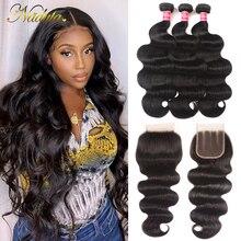 Nadula Hair mechones de pelo peruano 7A, 4x4, cierre de encaje suizo con onda corporal, cabello humano ondulado, cabello Remy de Color Natural