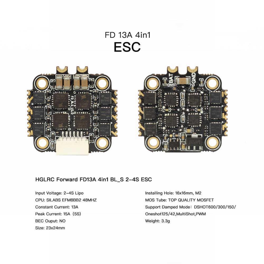 Accesorios de piezas RC HGLRC 16x16 FD13A ESC BL_S 2-4s 13A 4in1 ESC para torre de pila FD413