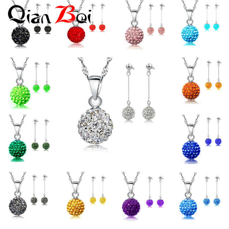 QianBei  Lovely Chain Necklace Pendent Earrings For Women Crystal Decoration Jewelry Set Wedding Gift Sets
