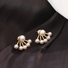 Korean new style simple pearl rear hanging earrings Women Super fairy personality hipster high-end fashion