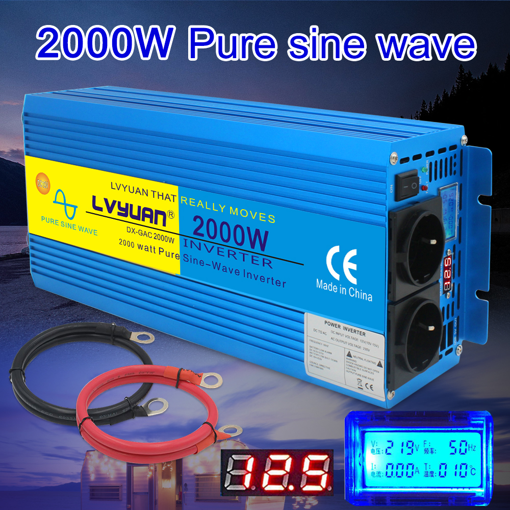 LCD Display 4000W spitzen reine sinus welle power inverter transformator <font><b>DC</b></font> 12V ZU <font><b>AC</b></font> <font><b>220</b></font> mit Dual Europa sockel converter image