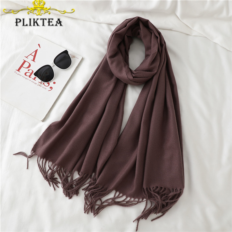 Brown Coffee Cashmere Men's Scarf Soft Beige Gray Solid Color Women's Winter Scarves White Black Female Tippet Tassel Scarf Red